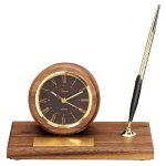 American Walnut Round Clock Desk Clocks