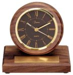 American Walnut Round Clock with Pen Desk Clocks