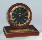 American Walnut Finish Round Clock Desk Clocks
