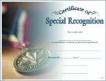 Photo Certificate of Special Recognition Fill in the Blank Certificates