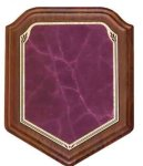 Shield Walnut Plaque with Burgundy Marble Plate Shield Plaques