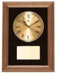 American Walnut Framed Wall Clock with Gold Face & Black Velour Wall Clock Plaques