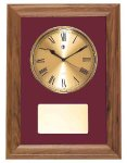American Walnut Framed Wall Clock with Gold Face & Maroon Velour Wall Clock Plaques